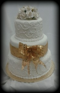 Three Tier Gold Ribbon Cake