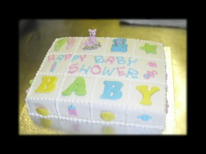 Cute Square Baby Shower Cake
