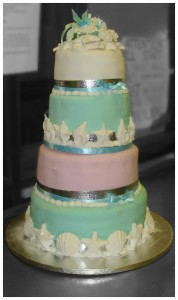 Four Tier Shells Wedding Cake