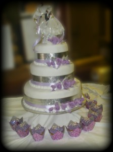 Three Tier Violet Wedding Cake