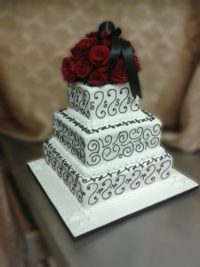 Three Tier Red Velvet Square Rose Wedding Cake