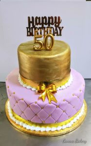 Pink and gold two-tier cake