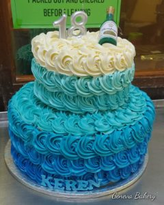 Blue two-tier birthday cake