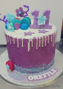 Purple and blue tall cake