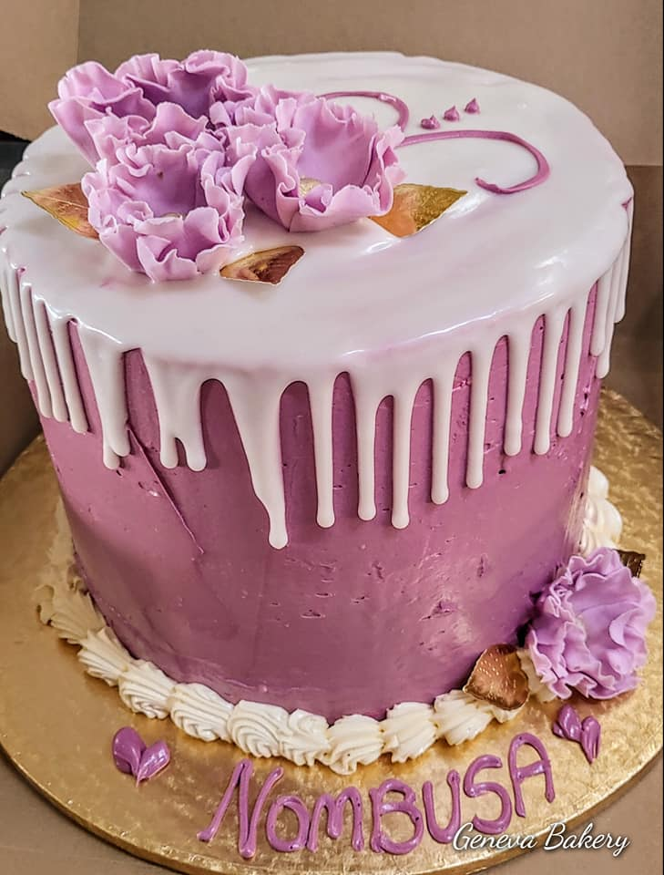 Pink and white tall cake